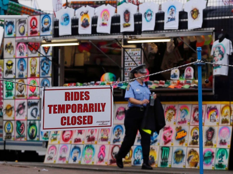 PHOTO: An Ohio State Highway Patrol cadet patrols the midway at the Ohio State Fair Thursday, July 27, 2017, in Columbus, Ohio.