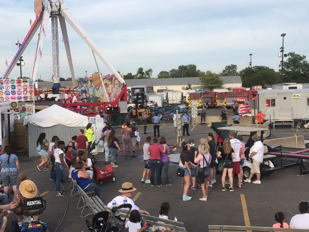 PHOTO: A ride called Fireball malfunctioned causing numerous injuries at the Ohio State Fair in Columbus, Ohio, July 26, 2017.