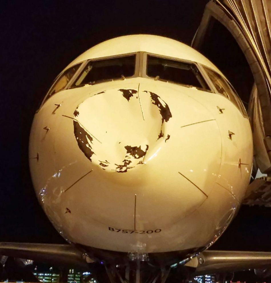 PHOTO: Oklahoma Thunder players posted photos on social media of the crushed nose of their charter plane, which Delta Airlines later said was due to a collision with a bird.