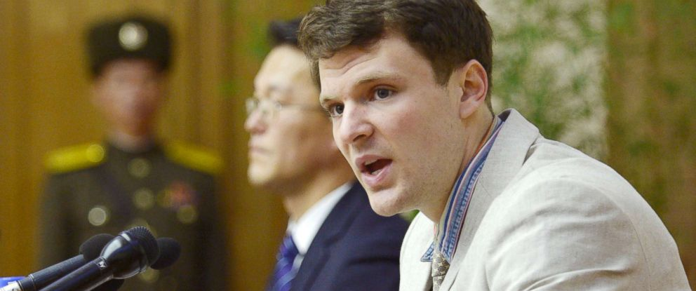 PHOTO: Otto Frederick Warmbier, shown at a news conference in Pyongyang, North Korea, February 29, 2016.