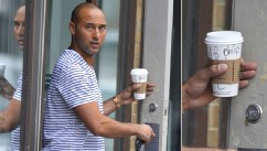 PHOTO: Derek Jeter seen going to Starbucks in the West Village in New York City. The name on his cup says 'Phillip'.