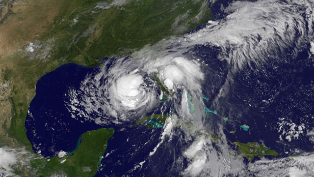 PHOTO: Hurricane Isaac approaches the Gulf Coast on Aug. 27, 2012.