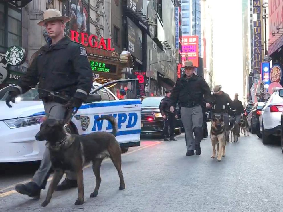 PHOTO: Police dogs marching from Times Square to Port Authority, Dec. 11, 2017, in New York City.