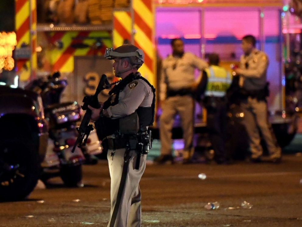 PHOTO: A police officer stands in the intersection of Las Vegas Boulevard and Tropicana Ave. after a mass shooting at a country music festival nearby on Oct. 2, 2017, in Las Vegas.
