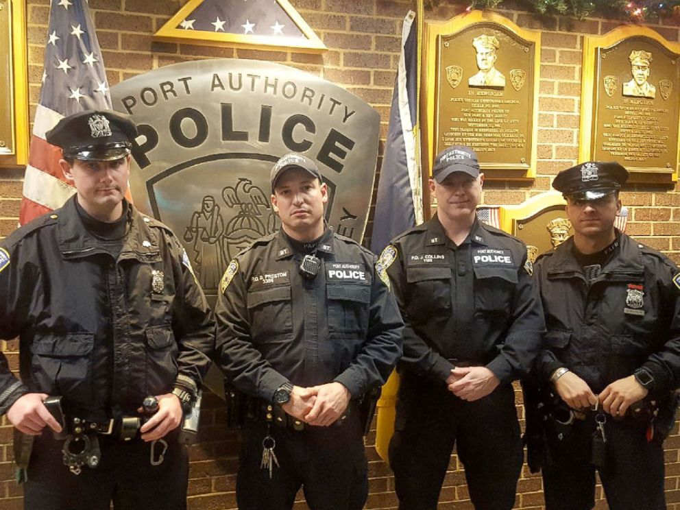 PHOTO: The The Port Authority Police Department officers involved in apprehending a terror suspect in New York City Dec. 11, 2017. L to R: Sean E. Gallagher, Drew M. Preston, John F. (Jack) Collins, Anthony J. Manfredini
