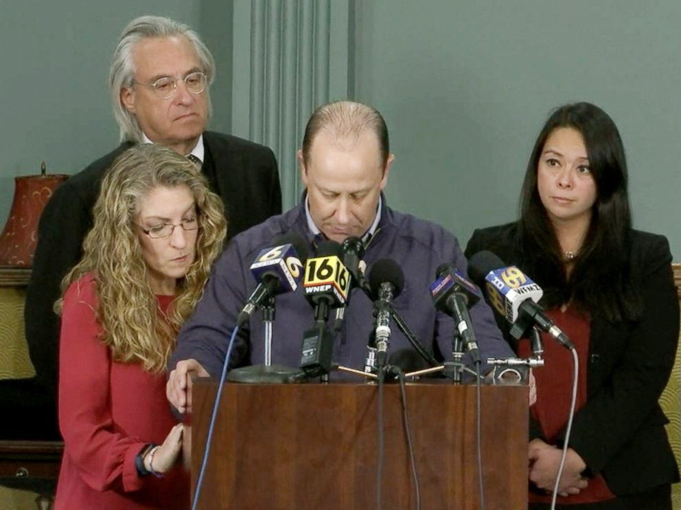 PHOTO: Tim Piazzas parents, Jim and Evelyn Piazza, at a press conference, Nov. 13, 2017.