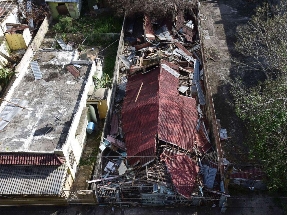 PHOTO: A destroyed building in the of El Gandul Community in Santurce is seen after Hurricane Maria, in San Juan, Puerto Rico, Sept. 25, 2017.