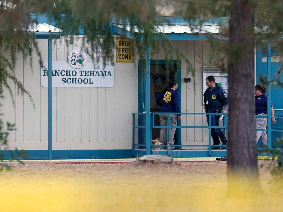 PHOTO: FBI investigators visit Rancho Tehama elementary school in the small community of Rancho Tehama, Calif. where a gunman killed at least four people in a violent rampage that began at a home and ultimately included seven locations, Nov. 14, 2017.