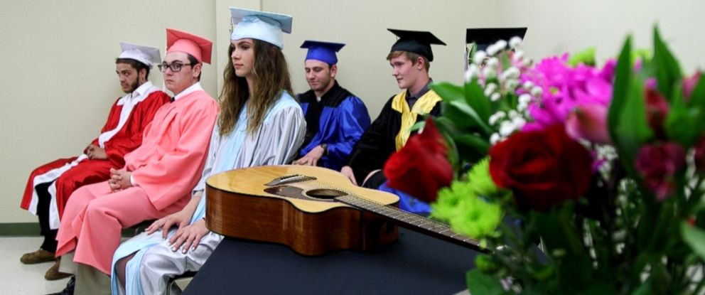 PHOTO: Students attend a graduation at Rockdale Recovery High School, an experimental school in Worchester, Mass.