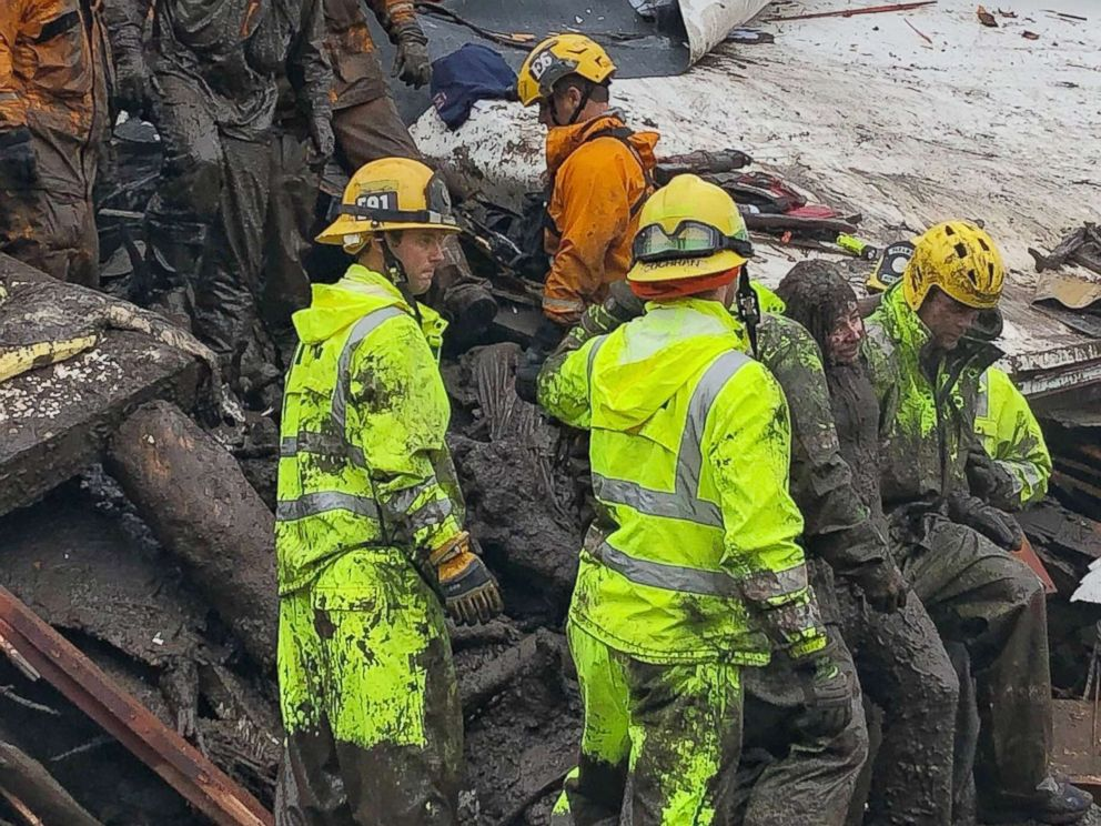 PHOTO: Firefighters rescue a 14-year-old girl trapped inside a destroyed home during heavy rains in Montecito, Calif., Jan. 9, 2018. Heavy rains overnight combined with large areas burned by the Thomas Fire combined for flash flooding and mudslide risk.