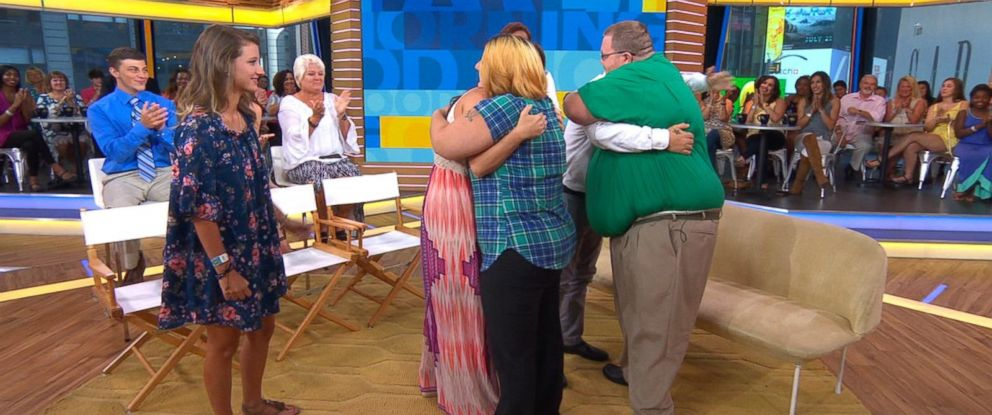 "PHOTO: Roberta and Bryan Ursrey were reunited on ""Good Morning America"" with the Good Samaritans who rescued their family off the coast of Panama City Beach, Fla."