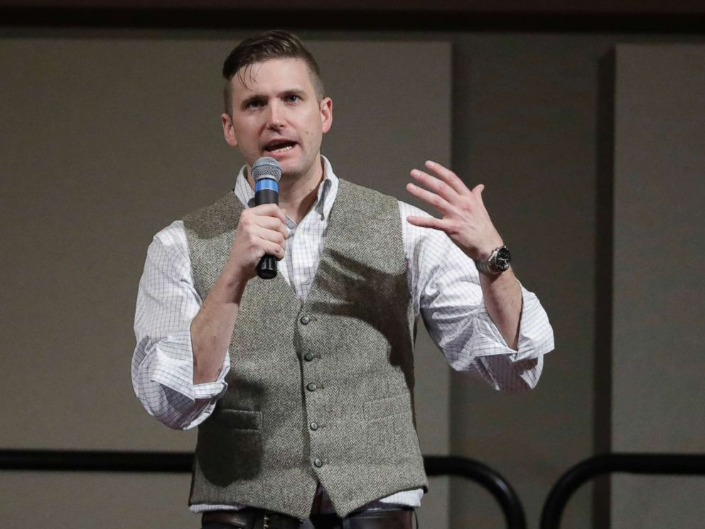 PHOTO: Richard Spencer, who leads a movement that mixes racism, white nationalism and populism, speaks at the Texas A&M University campus in College Station, Texas, on Dec. 6, 2016.