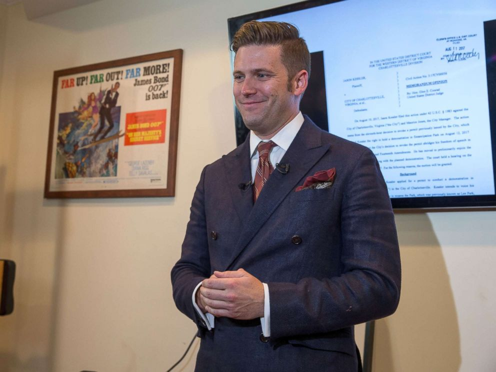 PHOTO: White nationalist Richard Spencer speaks to select media in his office space, Aug. 14, 2017, in Alexandria, Virginia.