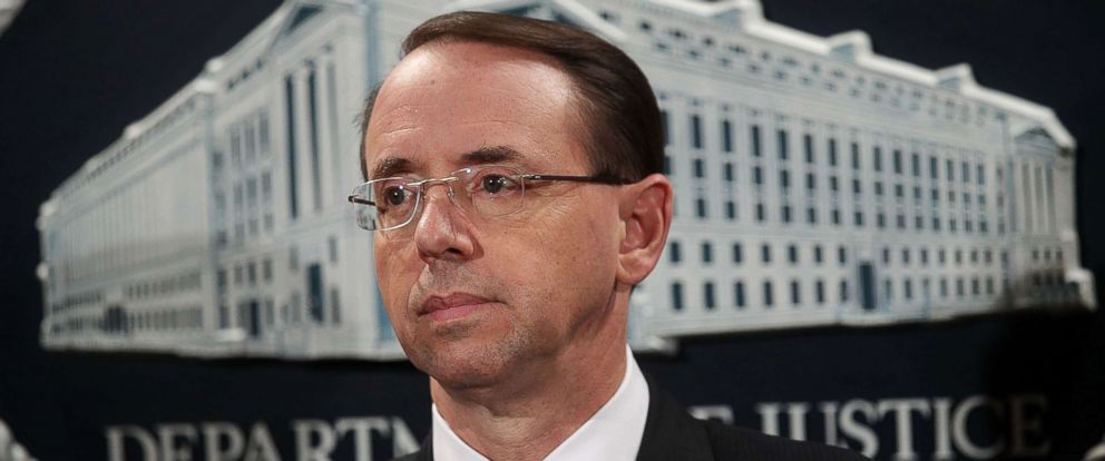 PHOTO: Deputy U.S. Attorney General Rod Rosenstein listens during a news conference Oct. 17, 2017 at the Justice Department in Washington.