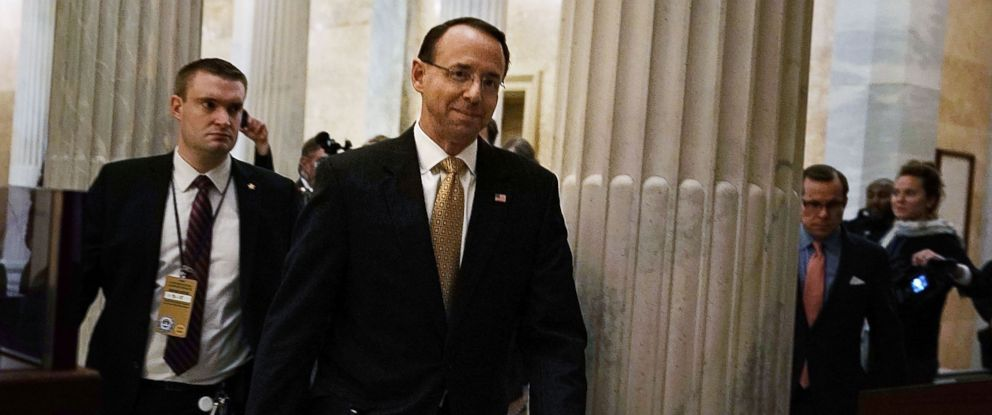 PHOTO: Deputy Attorney General Rod Rosenstein (R) leaves the U.S. Capitol after a meeting with Speaker of the House Paul Ryan (R-WI) on Capitol Hill, Jan. 3, 2018.