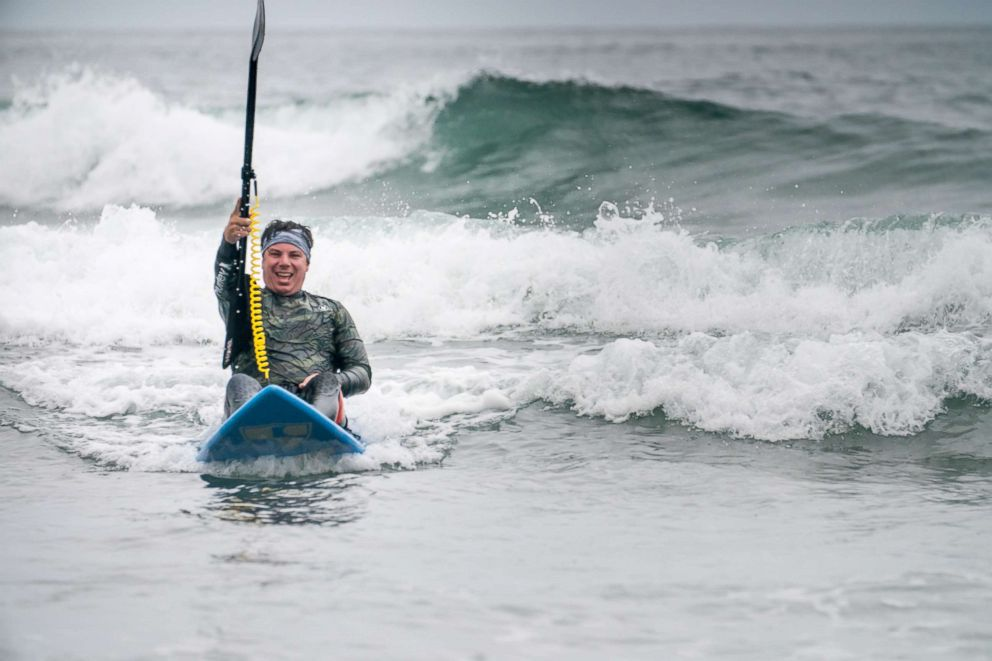 PHOTO: Roy Tuscany, 36, takes to the water. He said the help he received from his communities as he recovered from his injury inspired him to help others.