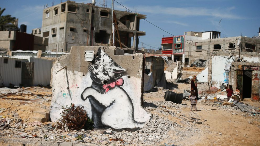 New Murals By Banksy Spotted In Gaza Strip Abc News