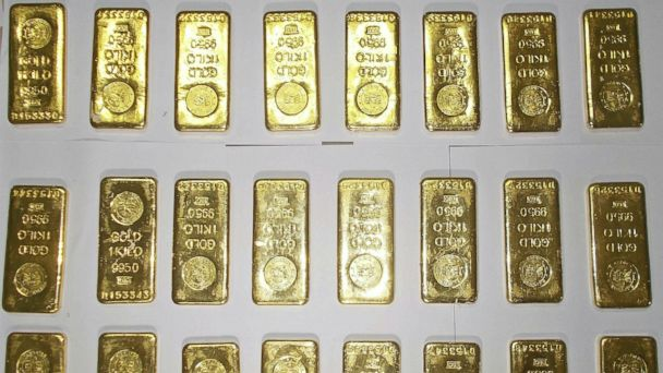 PHOTO: Gold bars seized by custom officers are displayed at Netaji Subhas Chandra Bose International Airport in Kolkata, India, Nov. 19, 2013.