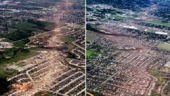 PHOTO: 1999 and 2013 views of Moore, Okla., tornado paths