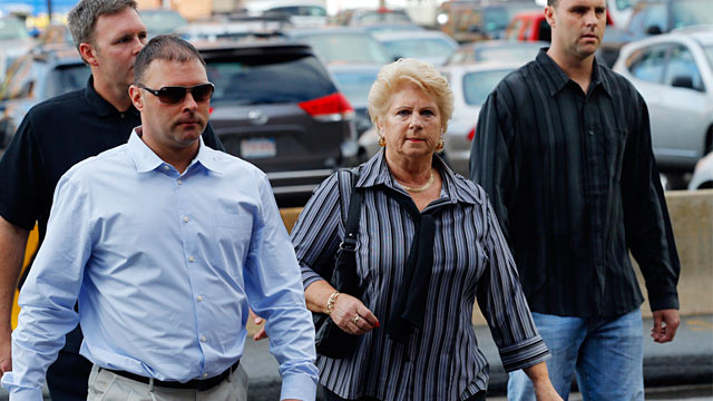 "PHOTO: Patricia Donahue arrives for the first day of the trial of accused mobster James ""Whitey"" Bulger at federal court in Boston, June 12, 2013."