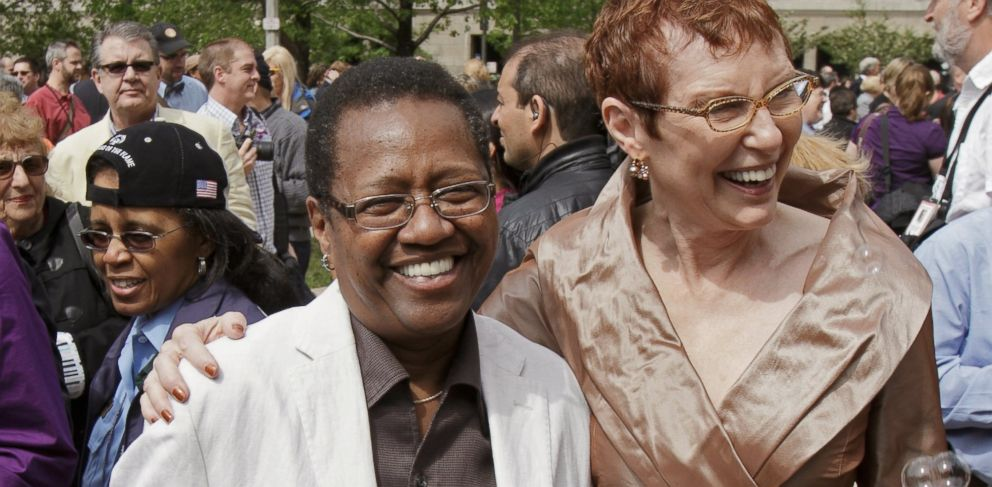 PHOTO: Vernita Gray, left, and Patricia Ewert pose for a photo after their civil union ceremony in Chicago, June 2, 2011.