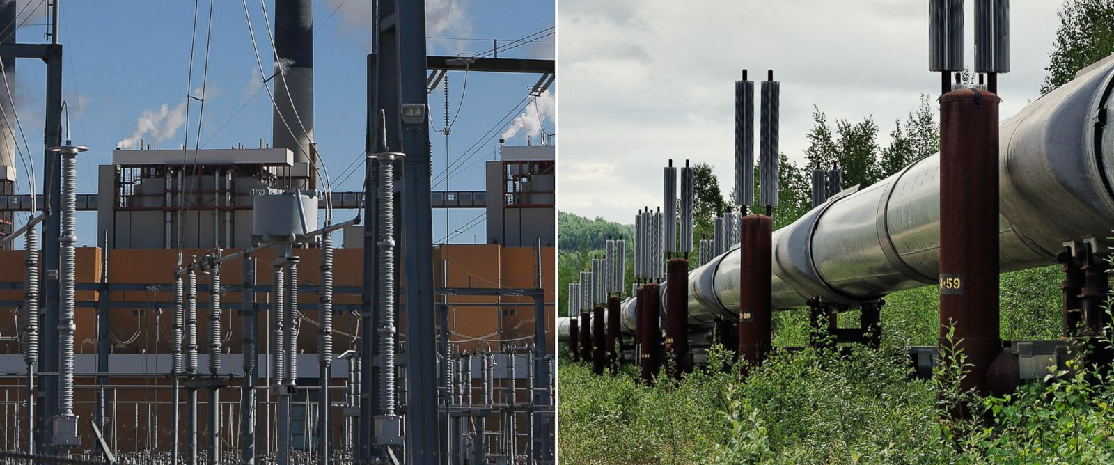 PHOTO: A coal-fired power plant in Wyoming is seen on March 14, 2014 and the Trans-Alaska oil pipeline is pictured on June 14, 2009.