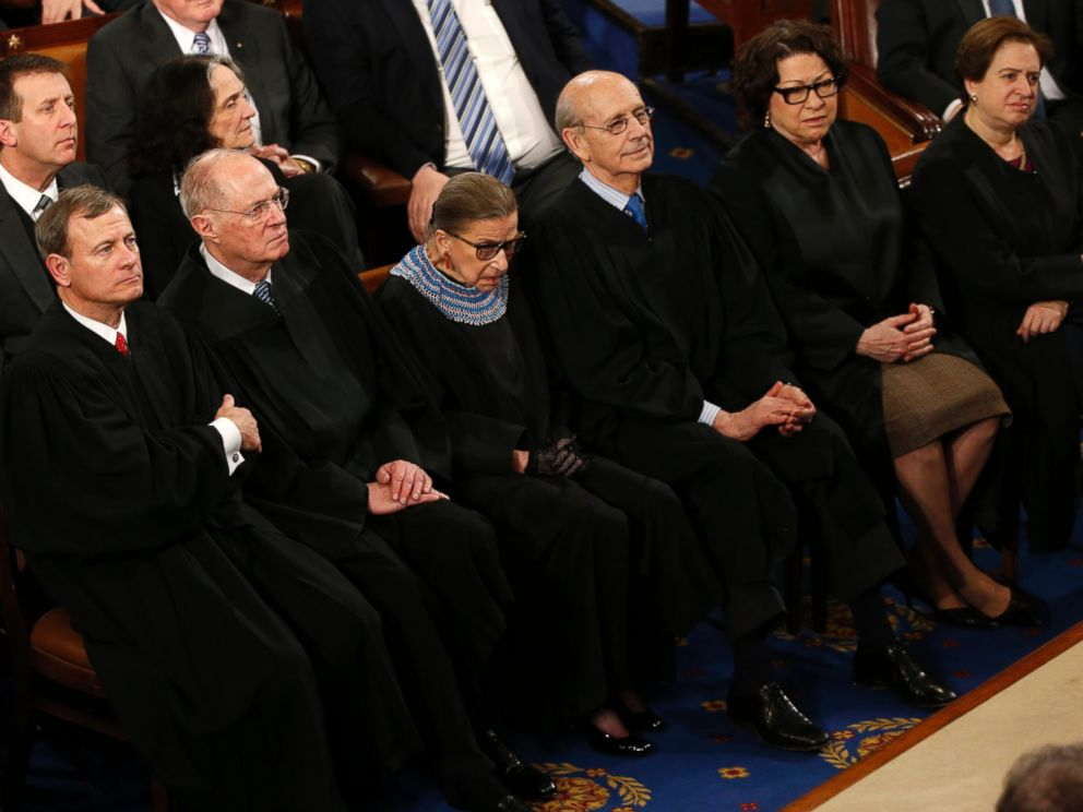 PHOTO: John Roberts, Anthony Kennedy, Ruth Bader Ginsburg, Stephen Breyer, Elena Kagan and Sonya Sotomayor listen to President Barack Obama as he delivers his State of the Union address in Washington, Jan. 20, 2015.