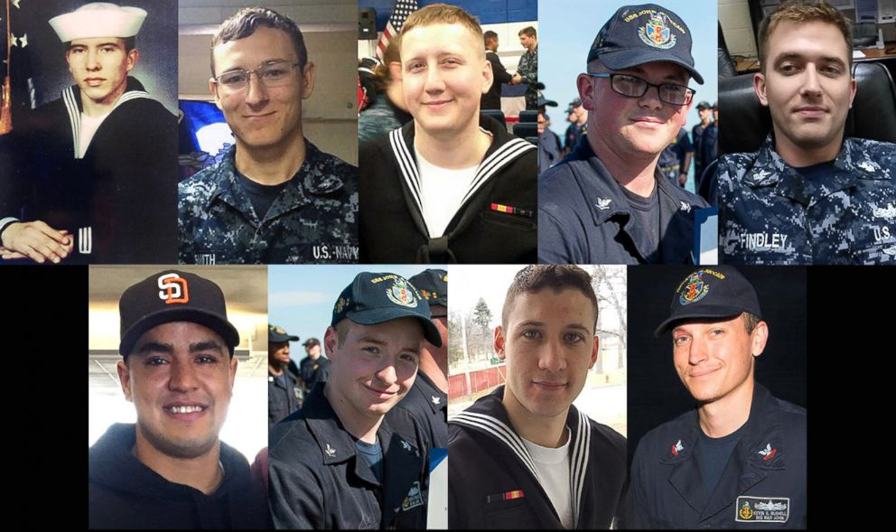 PHOTO: Nine of the ten sailors dead and missing in the accident involving the USS McCain.
