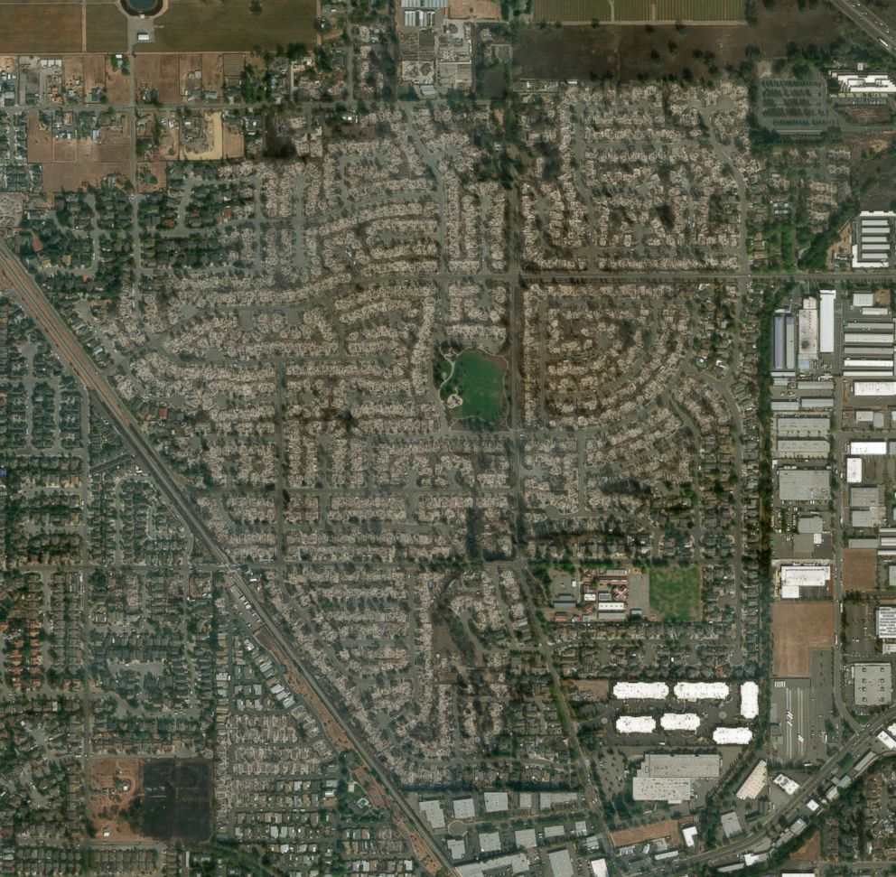 PHOTO: A satellite image made on Oct. 11, 2017 shows damage to structures in the Coffey Park neighborhood of Santa Rosa, Calif. after nearly two dozen fires tore through the Golden State..