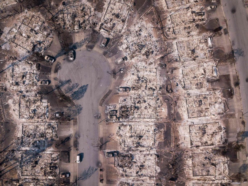 PHOTO: Fire damage is seen from the air in the Coffey Park neighborhood on Oct. 11, 2017, in Santa Rosa, Calif.