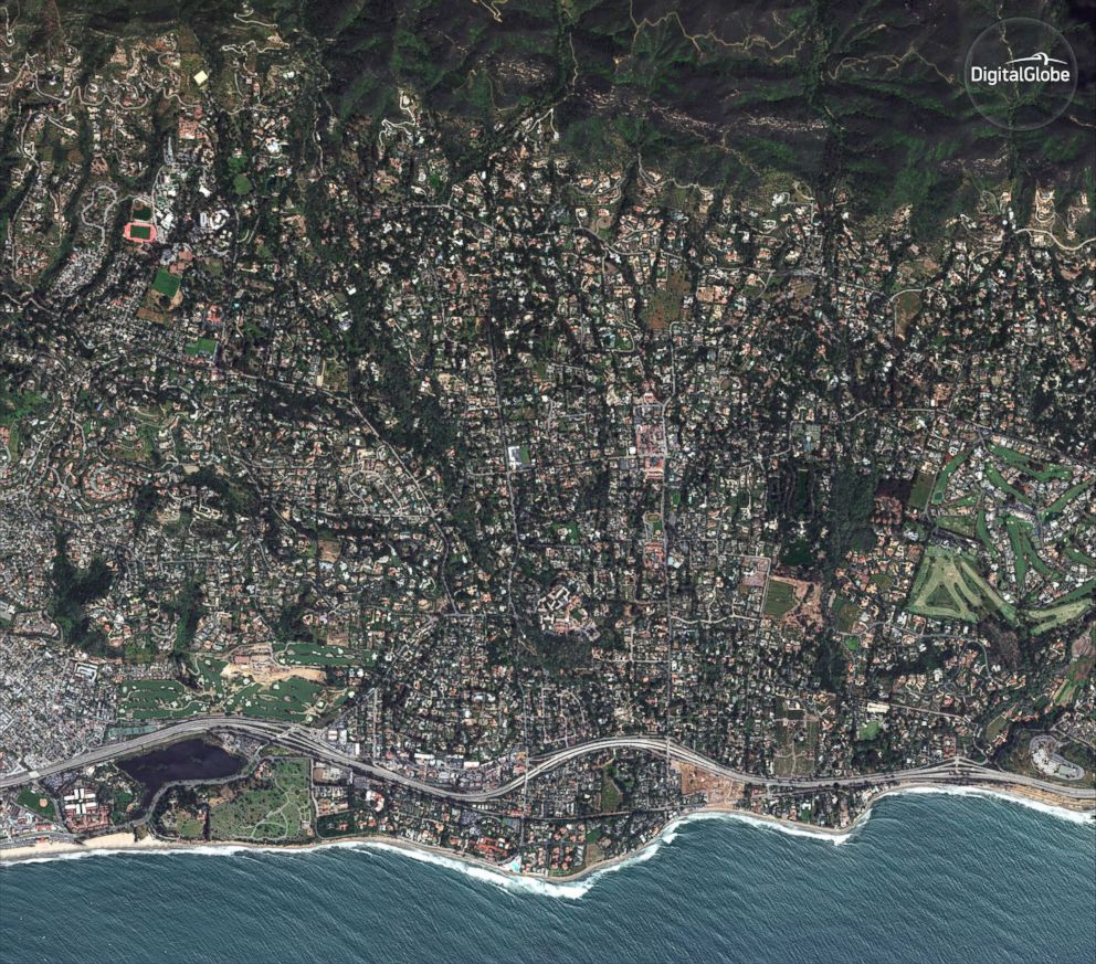 PHOTO: A satellite image made on April 2, 2017, shows Montecito, Calif., an an unincorporated area near the city of Santa Barbara.