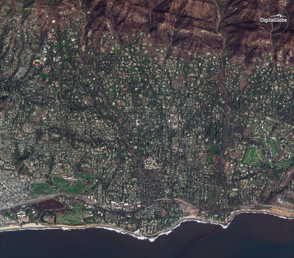 PHOTO: A satellite image made on Jan. 10, 2018, shows Montecito, Calif. after torrential rains caused deadly mudslides in the area.