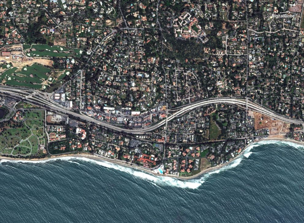PHOTO: A satellite image made on April 28, 2017, shows a southern portion of Montecito, Calif., and Highway 101.