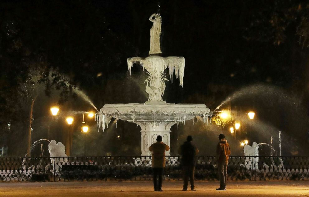 PHOTO: Ice forms on the water fountain in Forsyth Park, Jan. 4, 2018 in Savannah, Ga.
