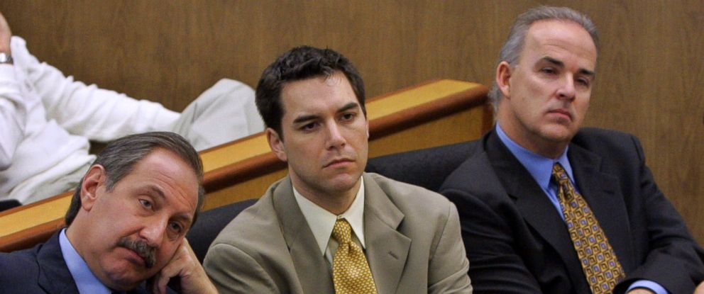 PHOTO: Accused murderer Scott Peterson, center, and defense attorney Mark Geragos, left, listen during prosecution rebuttal to the defense closing arguments in Petersons capital murder trial Nov. 3, 2004 in Redwood City, Calif.