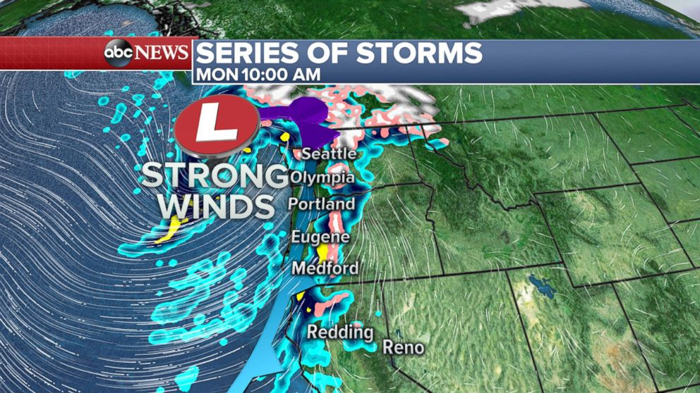 PHOTO: Two storms will bring heavy rain and snow to the Pacific Northwest this week.