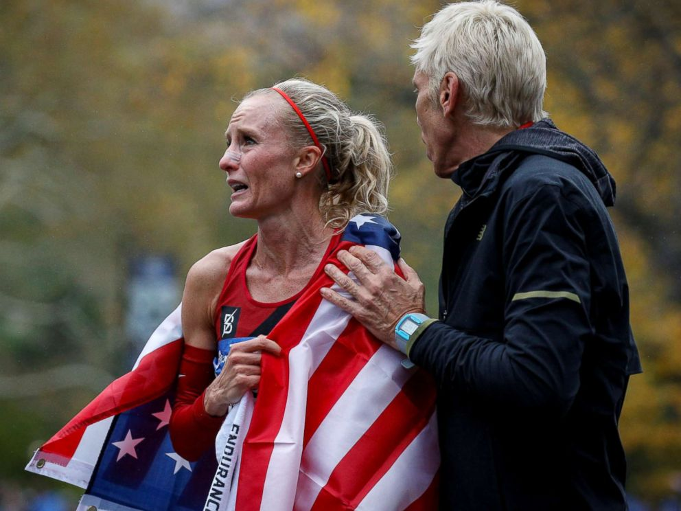 PHOTO: Shalane Flanagan of the U.S. wins the womens race of the New York City Marathon in New York, Nov. 5, 2017.