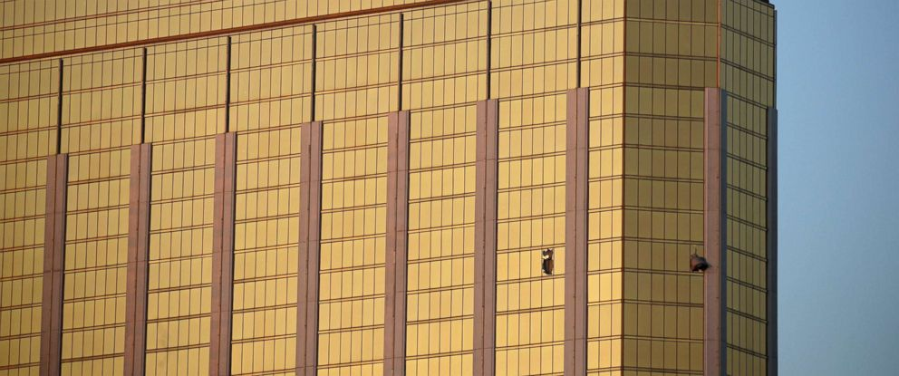 PHOTO: In this Monday, Oct. 2, 2017 file photo, drapes billow out of broken windows at the Mandalay Bay resort and casino on the Las Vegas Strip, following a deadly shooting at a music festival in Las Vegas.