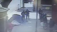 VIDEO: Surveillance video shows another angle of the altercation between a homeless man on Skid Row and the LAPD.
