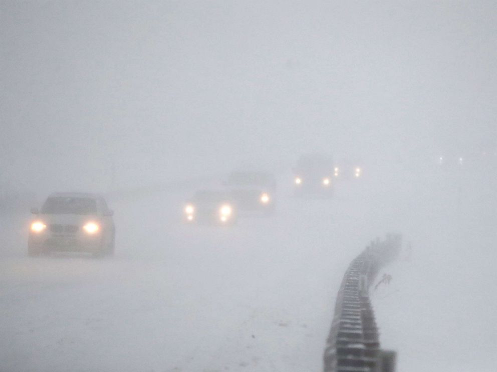 PHOTO: Vehicles commute southbound on the Garden State Parkway in whiteout conditions during a snowstorm, Jan. 4, 2018, in Eatontown, N.J.