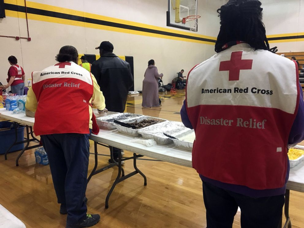 PHOTO: An image released by the American Red Cross shows volunteers serving breakfast to survivors of a fatal train crash near Cayce, S.C., Feb. 4, 2018.