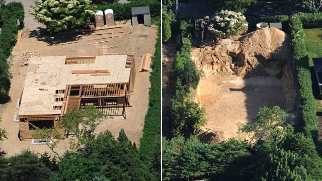 PHOTO: Aerial before and after of Southampton home construction