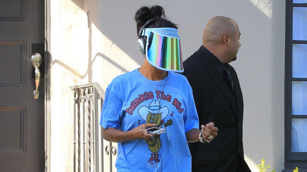 PHOTO: V. Stiviano goes for a one block roller skate ride on April 29, 2014, the day it is announced that Donald Sterling is banned from the NBA.