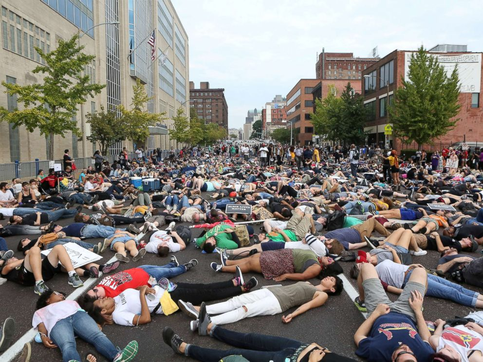 PHOTO: Protesters stage a die-in during a rally outside the police headquarters after the not guilty verdict in the murder trial of Jason Stockley, a former St. Louis police officer, Sept. 17, 2017.
