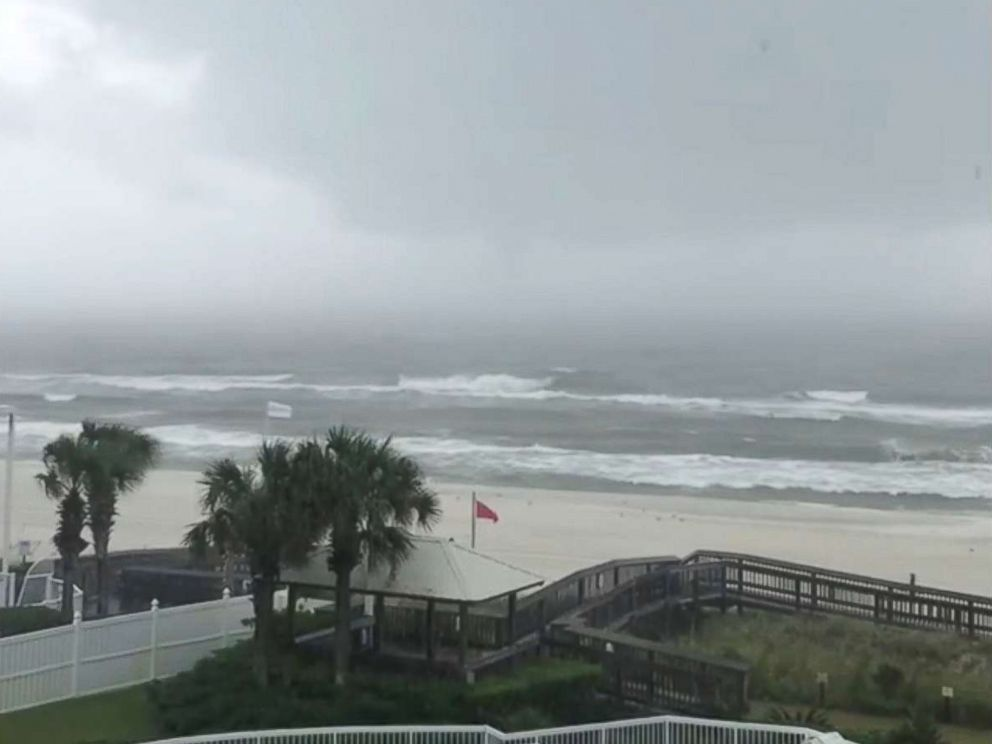 PHOTO: Rain and choppy sea are seen at Orange Beach, Ala., ahead of hurricane Nate in this still image from a video taken Oct. 7, 2017, obtained from social media.
