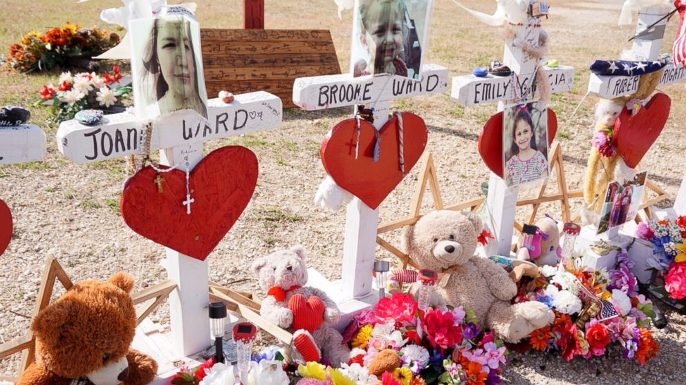 PHOTO: Memorials in Sutherland Springs, Texas, for those shot and killed in the massacre at the First Baptist Church there Nov. 5, 2017.