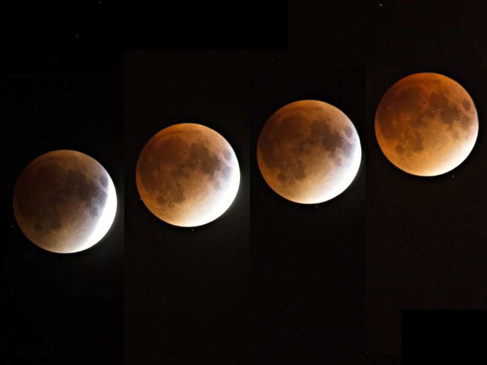 PHOTO: A multi-exposure image of a blood and supermoon is seen across Canada with clear skies in Montreal on the night of Sept. 27, 2015. Astronomers claimed a blood moon would return in 33 years