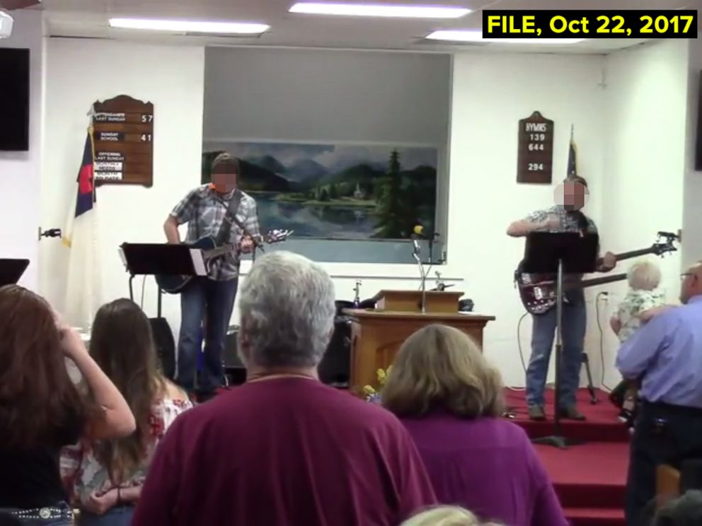 PHOTO: A grab made from video posted to YouTube on Oct. 22, 2017 shows a service at the First Baptist Church of Sutherland Springs, Texas.