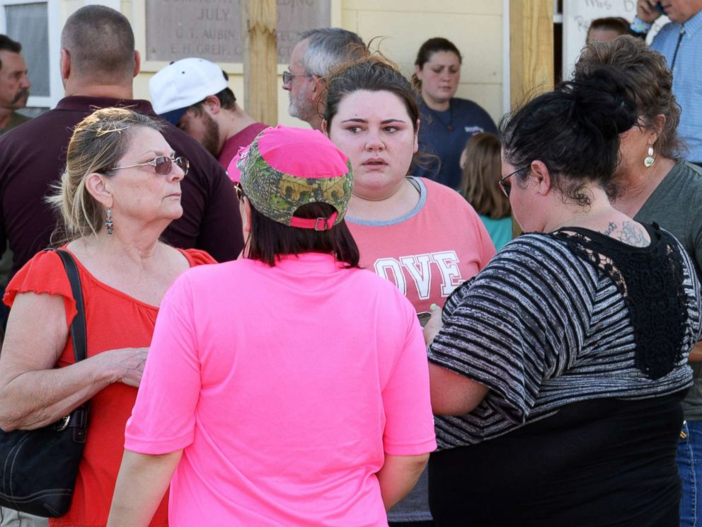 PHOTO: Families gather at the community center awaiting news about the First Baptist Church shooting in Sutherland Springs, Texas, Nov. 5, 2017.