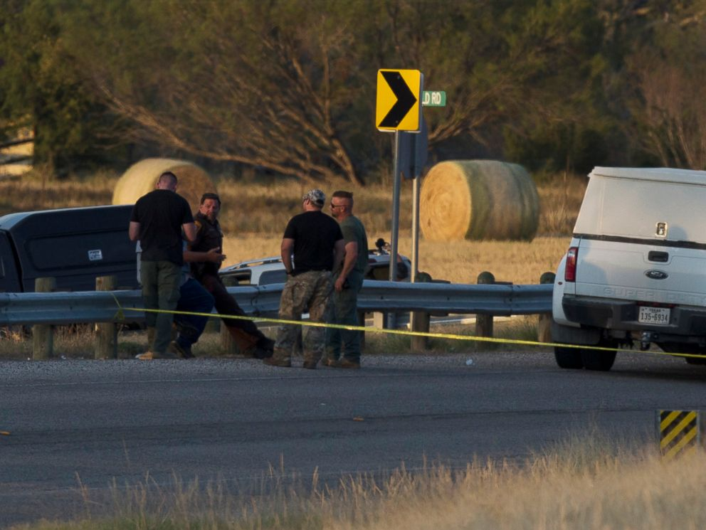 PHOTO: Authorities work the scene where the suspect of a deadly church shooting was found dead in his vehicle near the intersection of FM 539 and Sandy Elm Road in Guadalupe County, Texas, Nov. 5, 2017.
